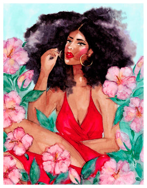 Illustration of a beautiful woman among hibiscus flowers by Tatiana Poblah