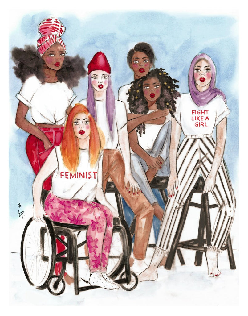 Illustration of group of women of different colors representing women empowerment by tatiana poblah