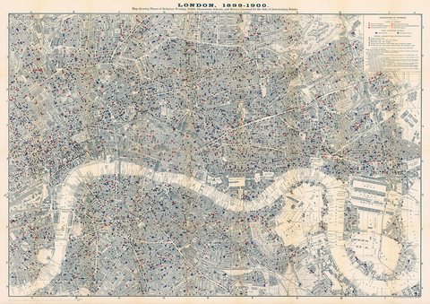 London 1899-1900 Historic Map Showing Places of Worship, Schools, Beer houses, Restaurants, Grocers
