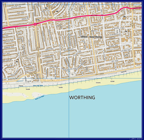 Personalised 2km x 2km 1:10 000 Ordnance Survey Map