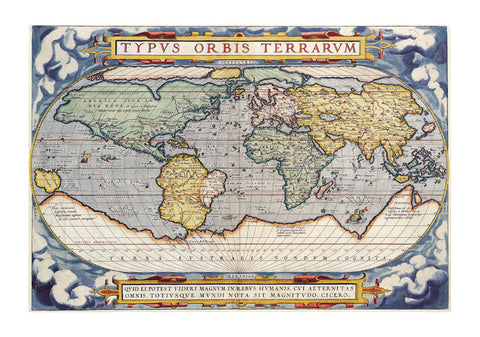 1570 Map of the World by Abraham Ortelius