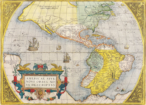 1578 Map of USA by Abraham Ortelius