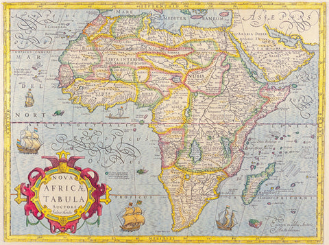 1606 Map of Africa by Jodoco Hondio