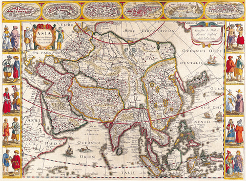 1632 Wall Map of Asia by Jan Jansson