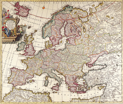 1696 Map of Europe by Carl Allard