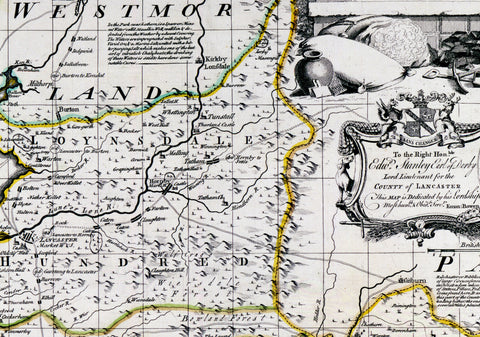 1780 Map Of Lancashire by Emanuel Bowen