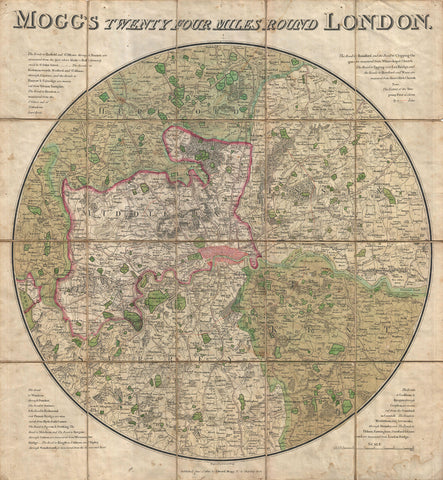 Mogg's Twenty Four Miles Round London Map - 1820