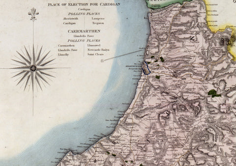 1834 Map Of Cardigan by C.J Greenwood