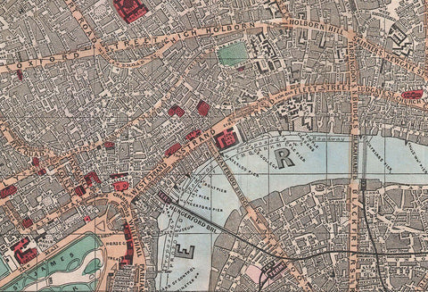 Reynold's Map of Modern London - 1862