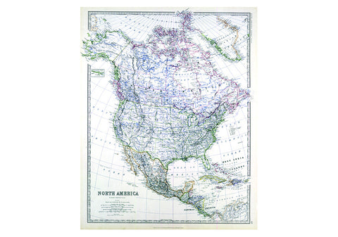 1861 Map of North America by Keith Johnston
