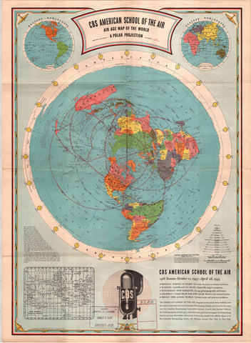 1944 CBS American School of the Air - 110cm x 85cm ( Approx A0 ) Flat Earth Map