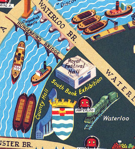 1950's Pictorial Map Of London