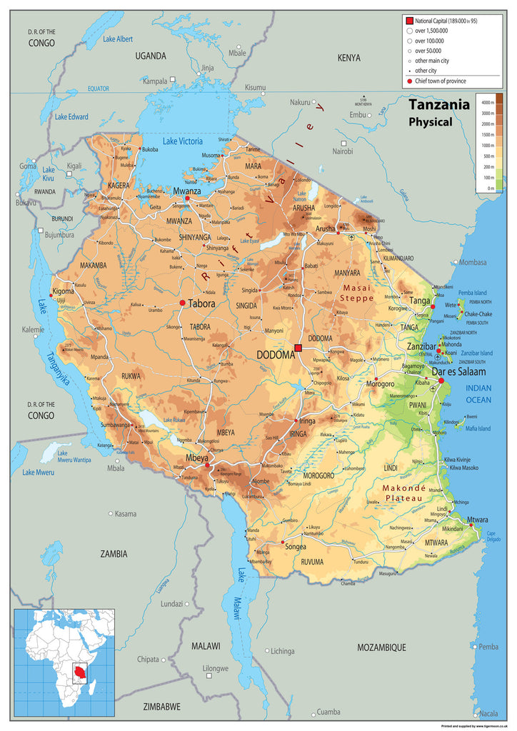 Tanzania Physical Map I Love Maps