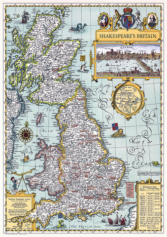 Shakespeare's Britain Map by National Geographic Society