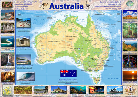 Illustrated Map Poster of Australia