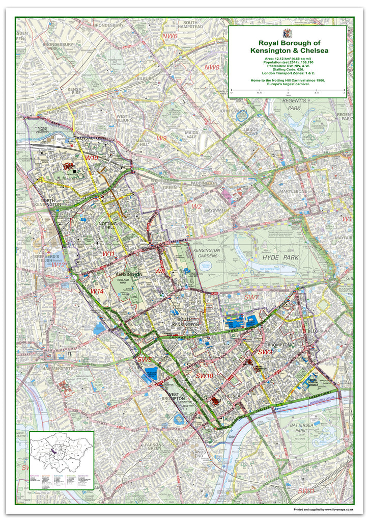 Kensington Chelsea London Borough Map I Love Maps
