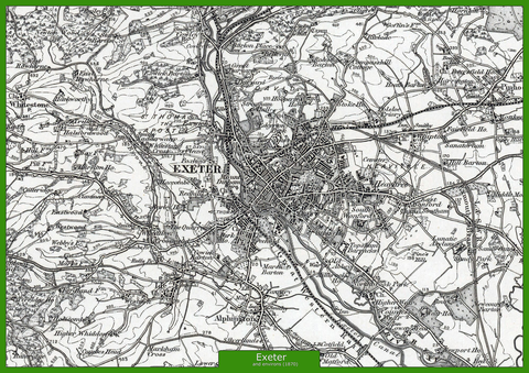 Exeter and Environs Ordnance Survey Map 1870
