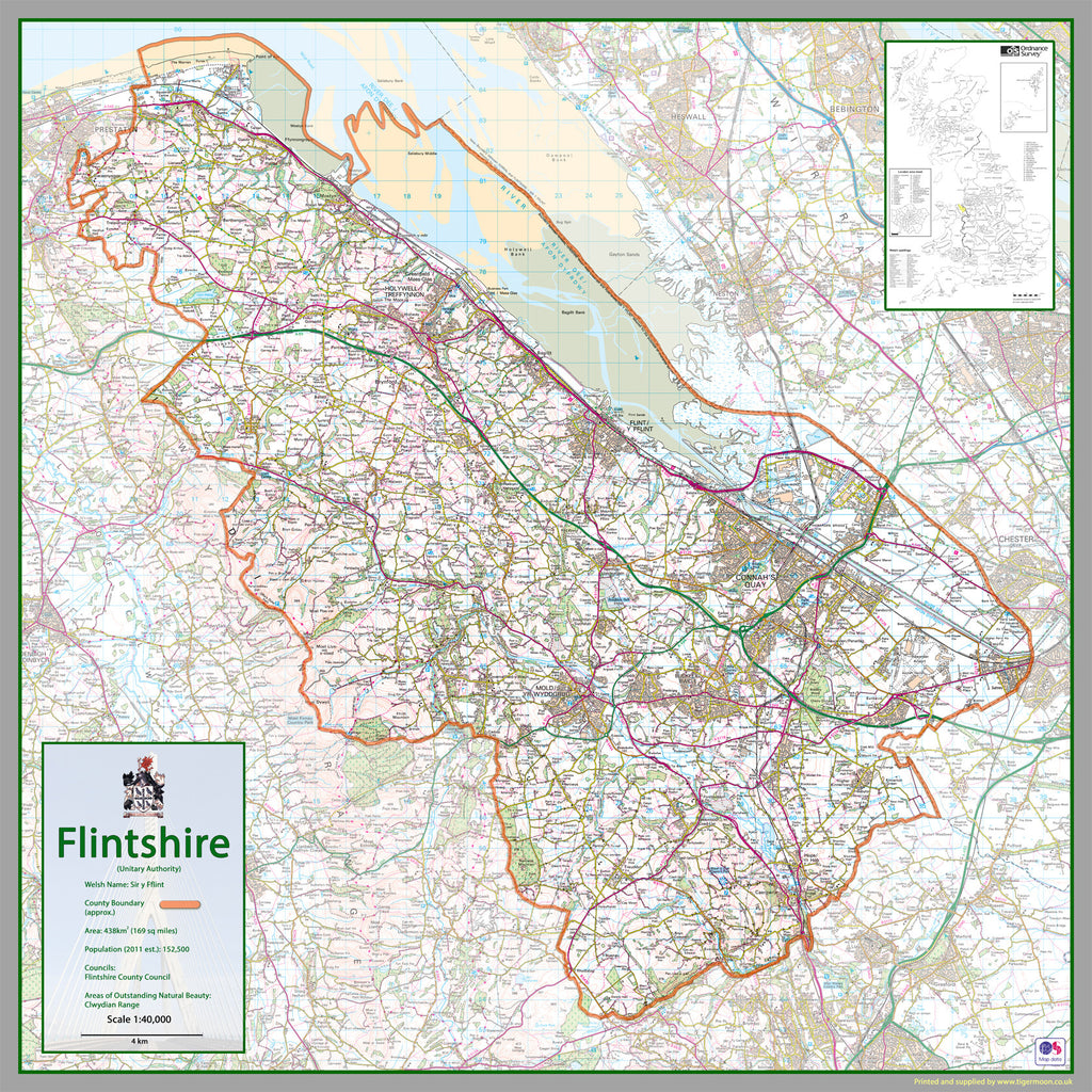 Map Of Uk 500 Ad.Flintshire County Map I Love Maps