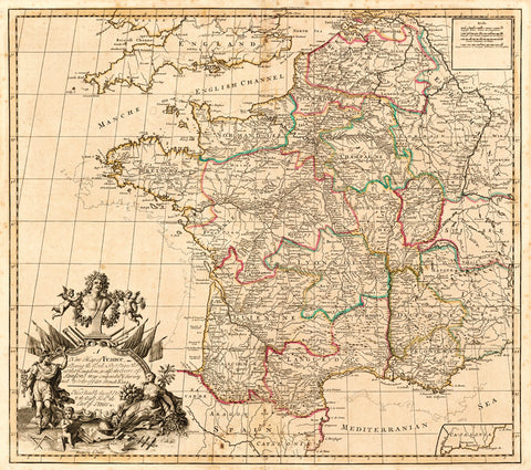 John Senex Post Map of France 1719