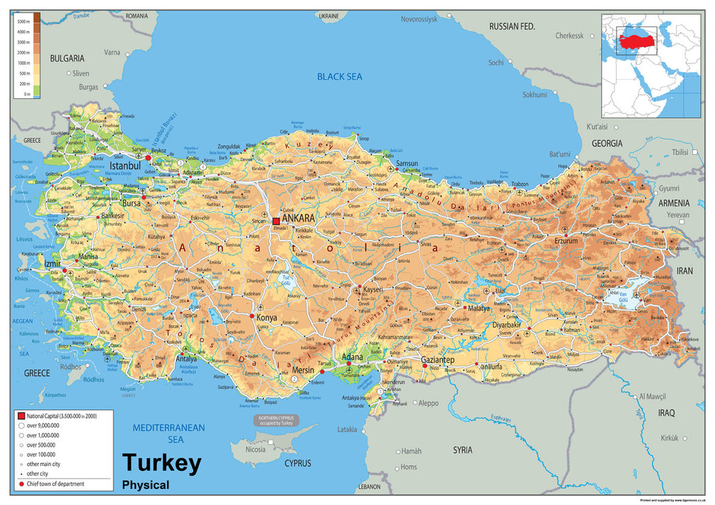Turkey physical map i love maps turkey physical map sciox Gallery