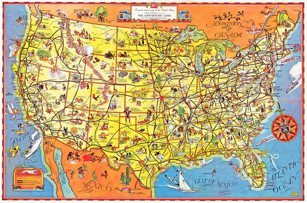 the greyhound route map of the united states 1937 i love maps