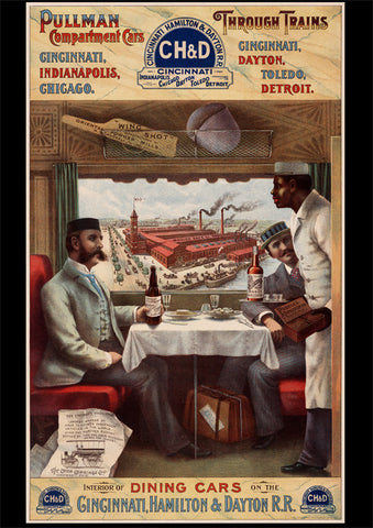 Pullman Compartment Cars & Through Trains Advertising Poster