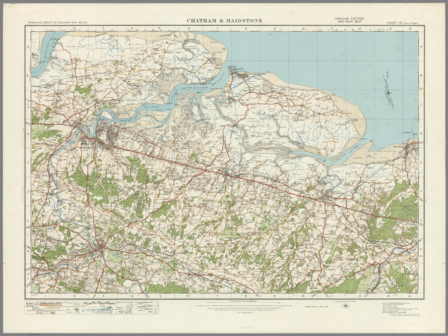 Chatham England Map.Chatham Maidstone Ordnance Survey Of England And Wales 1920
