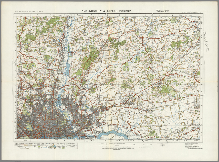 Map Of England 950.North East London Epping Forest Ordnance Survey Of England And