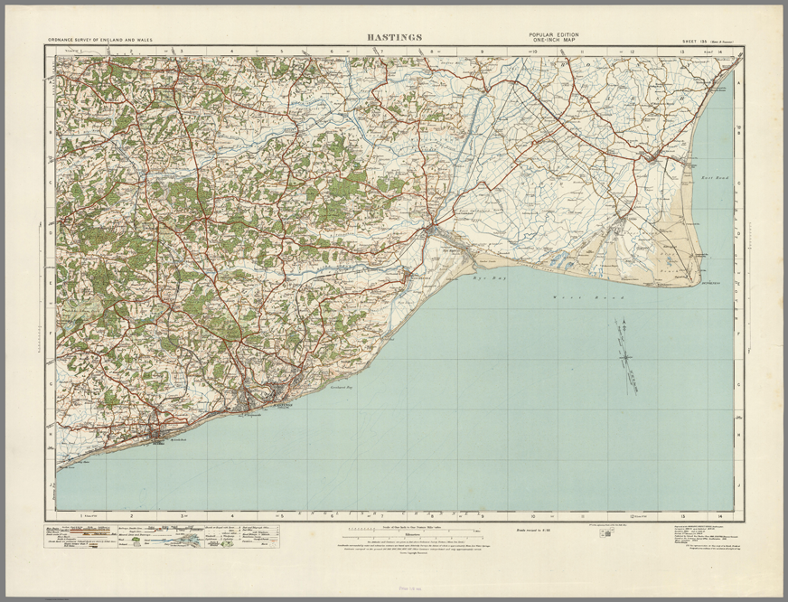 Hastings Ordnance Survey Of England And Wales 1920 Series I Love
