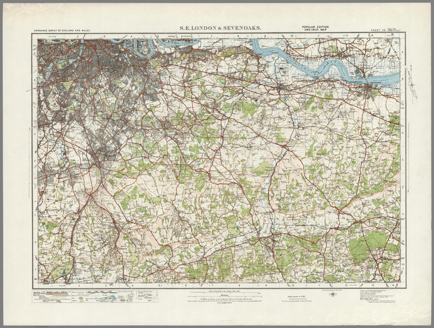South East London Map.South East London Sevenoaks Ordnance Survey Of England And Wales