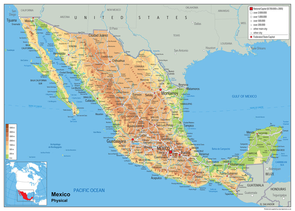 Mexico Physical Map | I Love Maps