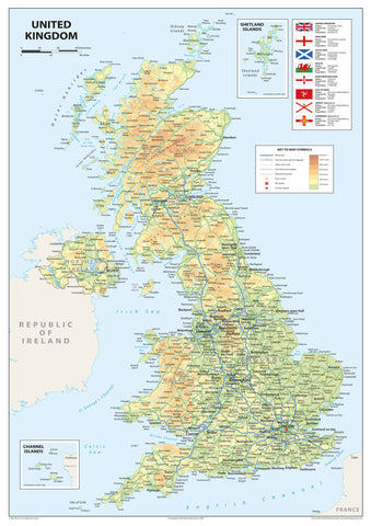 United Kingdom of Great Britain and Northern Ireland Map - A2 Size