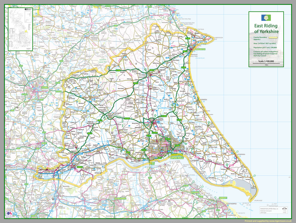 Map Of East Yorkshire East Riding Of Yorkshire County Map | I Love Maps