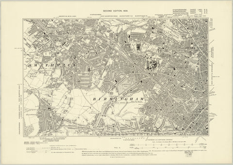 Birmingham South West 1905 Map