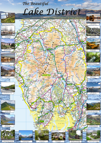 The Beautiful Lake District Illustrated Map