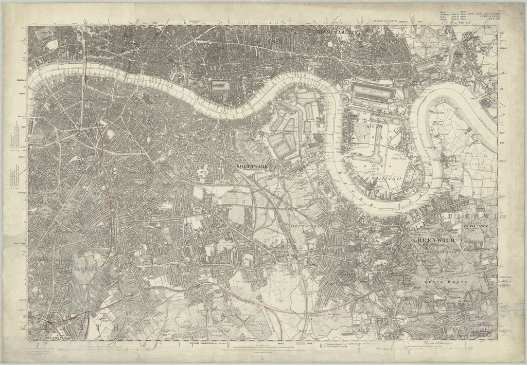 1872 map of south east london ordnance survey 110560 scale
