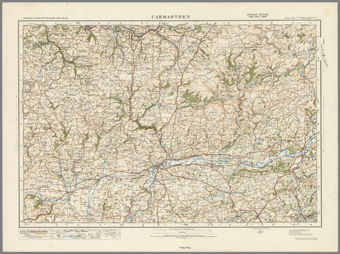 Carmarthen - Ordnance Survey of England and Wales 1920 Series