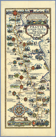 Pratts 1930 Esso Map of the Great North Road