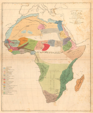 Ethnographical Map of Africa By Dr Prichard 1851