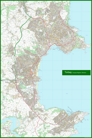 Torquay, Paignton and Brixham Coastal Area Map