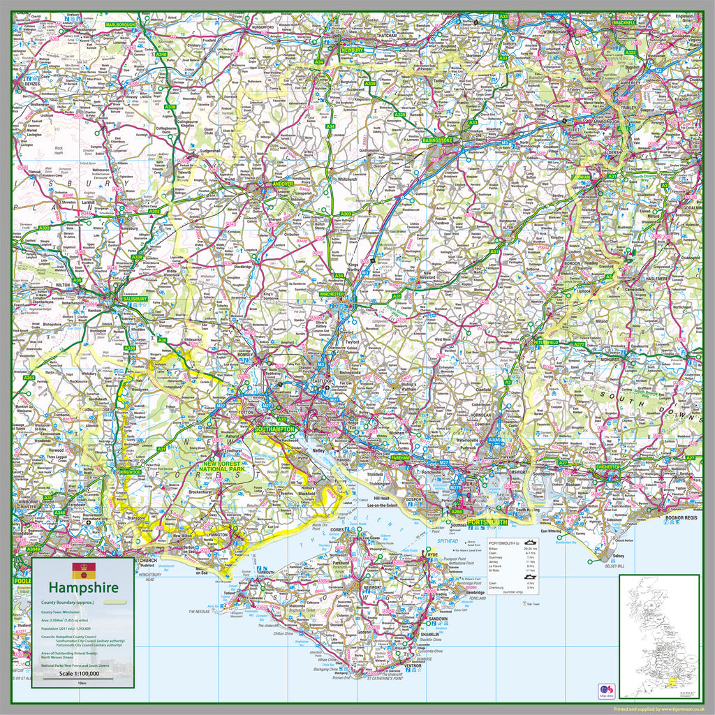 Map Of Hampshire Hampshire County Map | I Love Maps Map Of Hampshire