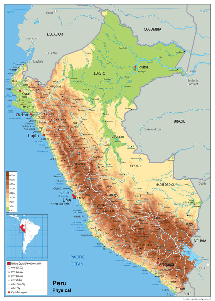 Peru Physical Map I Love Maps - Physical map of colombia