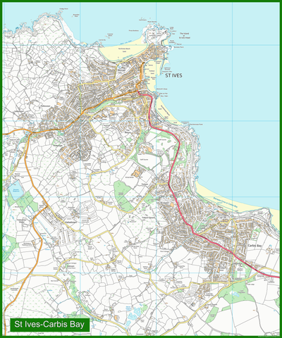 St Ives Street Coastal Area Map