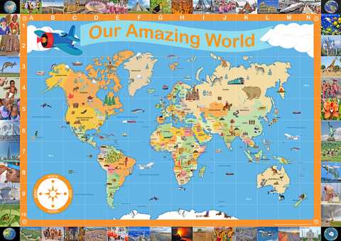 Illustrated Our Amazing World Map