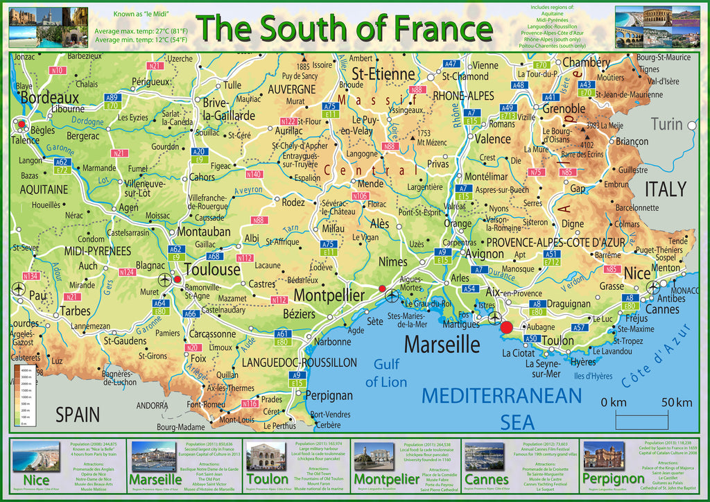 Illustrated Map of the South of France | I Love Maps