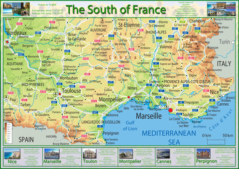 Illustrated Map of the South of France