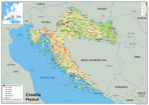 Croatia Physical Map