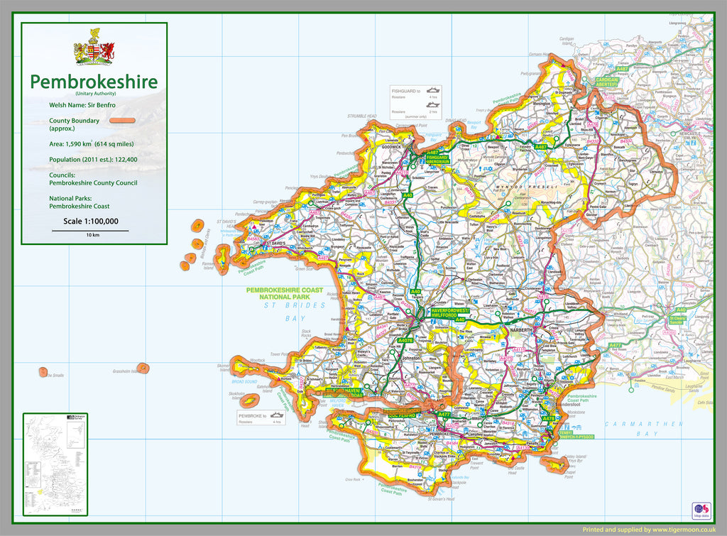 Map Of Pembrokeshire Pembrokeshire County Map | I Love Maps Map Of Pembrokeshire