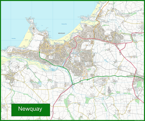 Newquay Street Coastal Area Map