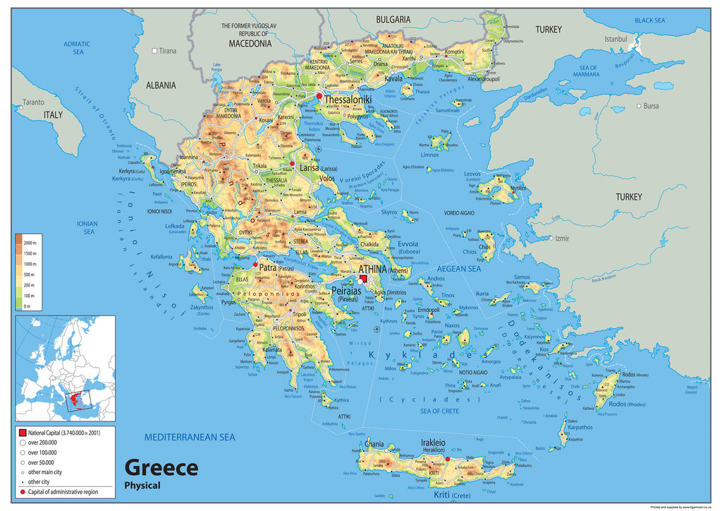 Greece Physical Map I Love Maps